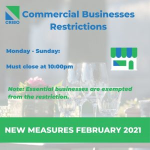 commercial businesses schedule february 2021